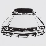 Hand drawing of a Ford Mustang car